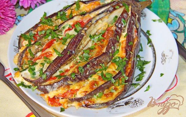 фото рецепта: Баклажан веером в духовке с сыром и помидорами