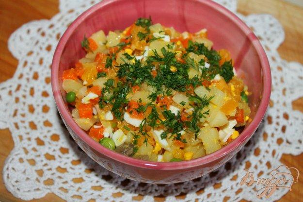 фото рецепта: Салат с тыквой, зеленым горошком и маринованными шампиньонами