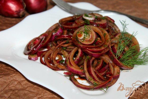 фото рецепта: Маринованный красный лук в бальзамическом уксусе с укропом