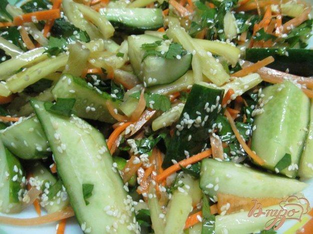 фото рецепта: Закусочные огурцы с морковью и перцем