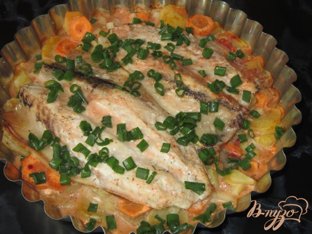 фото рецепта: Скумбрия запеченная с овощами