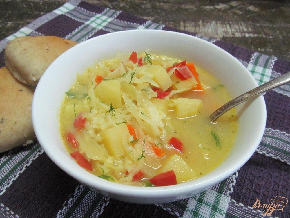 суп с рисом и капустой