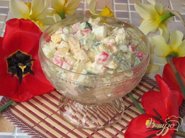 фото рецепта: Салат крабовый с огурцом и сыром