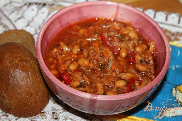 фото рецепта: Тушеная капуста с перцем и фасолью