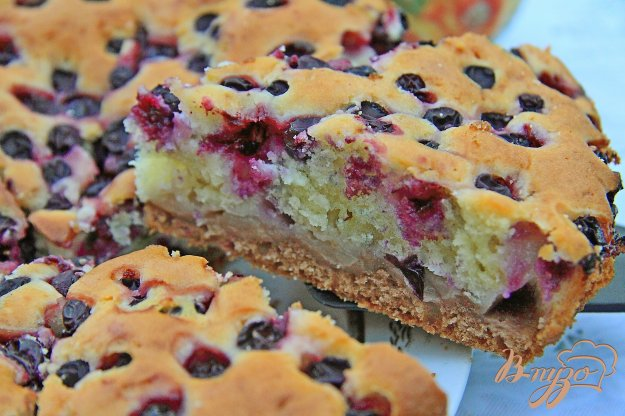 фото рецепта: Двухслойный пирог с виноградом и яблоками