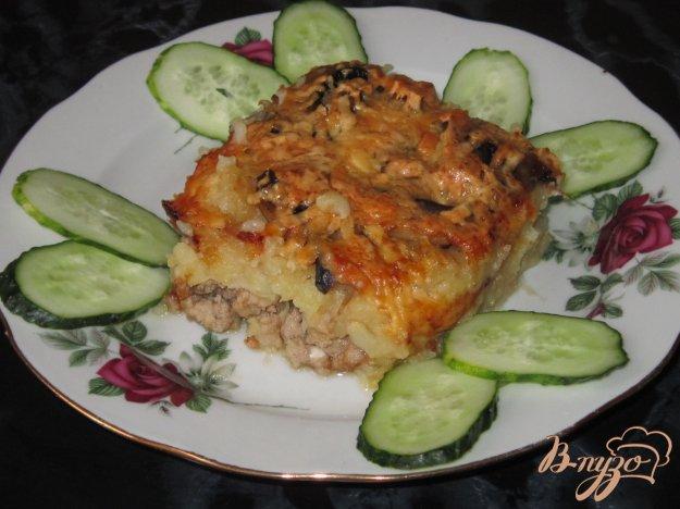 фото рецепта: Картофельная запеканка со свининой и грибами