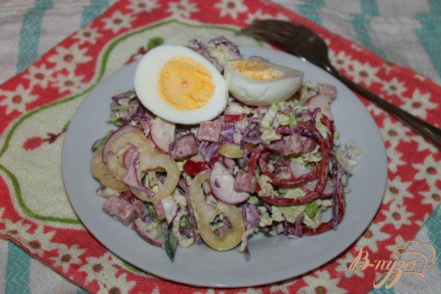 фото рецепта: Салат из капусты с колбасой, огурцом и редисом