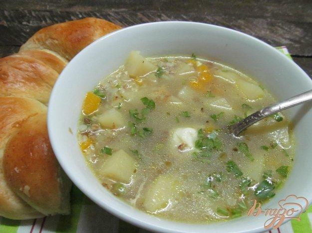 фото рецепта: Гречневый суп с тыквой на утином бульоне