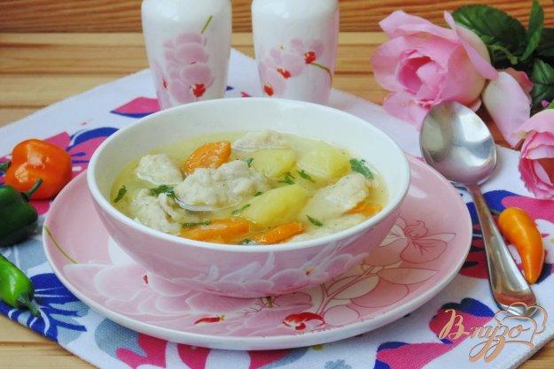 фото рецепта: Суп с галушками из отварной курицы