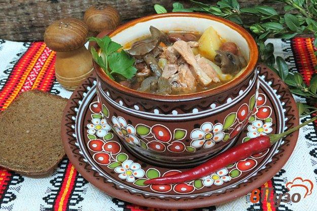 фото рецепта: Суп с фасолью и лесными грибами