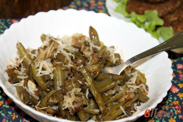 фото рецепта: Гарнир из спаржевой фасоли с грибами и луком