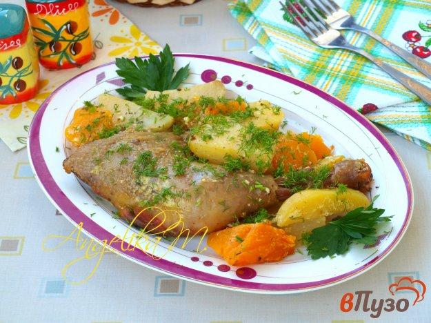 фото рецепта: Курица запечённая в рукаве с тыквой и картофелем