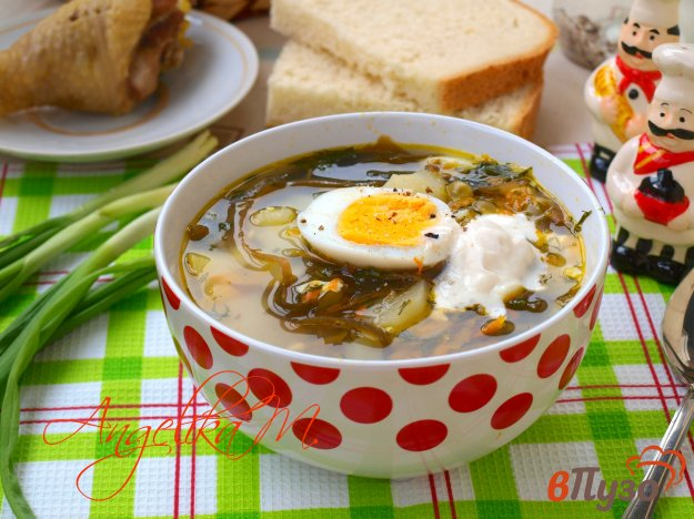 фото рецепта: Суп с морской капустой и зелёным горошком