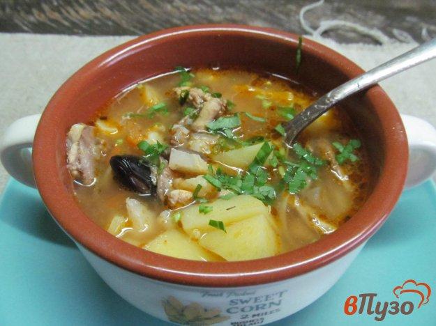 фото рецепта: Томатный суп из цветной капусты с грибами и фасолью