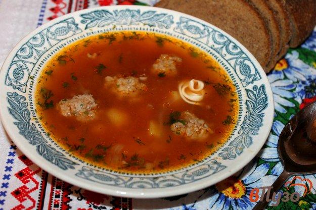 фото рецепта: Томатный суп на курином бульоне с фрикадельками
