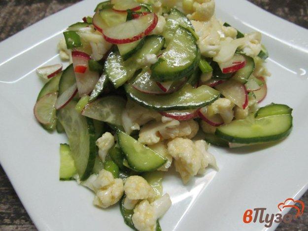 фото рецепта: Салат из цветной капусты с огурцом и редиской