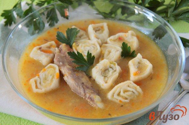 фото рецепта: Гороховый суп с чесночными рулетиками в мультиварке