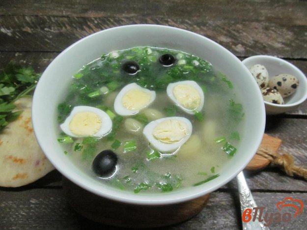 фото рецепта: Суп на курином бульоне с макаронами и шпинатом