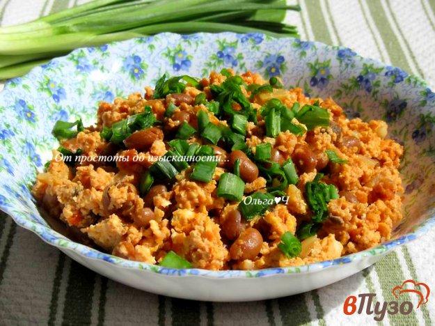 фото рецепта: Менемен с фасолью, грибами и зеленым луком