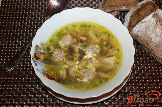 фото рецепта: Грибной суп с яйцом без картофеля