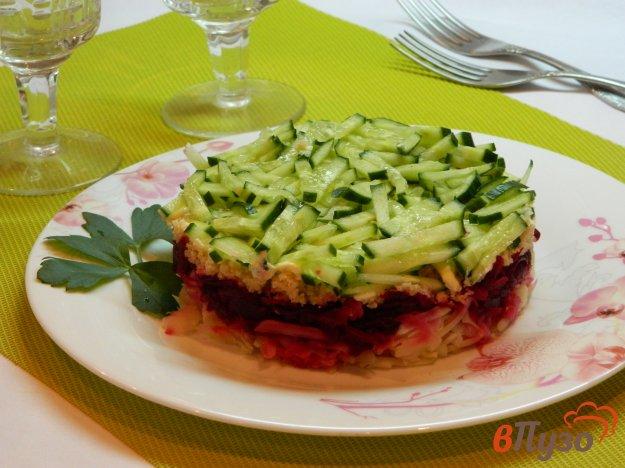 фото рецепта: Слоеный салат из свеклы с икрой трески