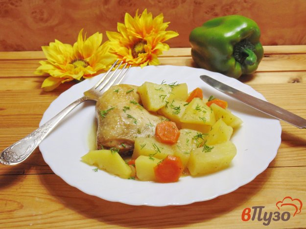 фото рецепта: Жаркое из курицы с картофелем
