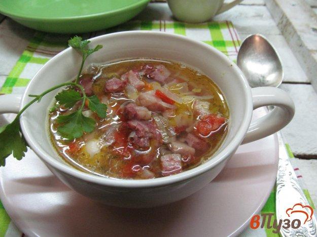 фото рецепта: Суп фасолевый по чешски с копчеными колбасками