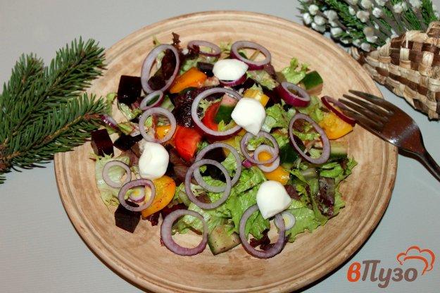 фото рецепта: Микс салат со свеклой, свежими овощами и салатной моцареллой