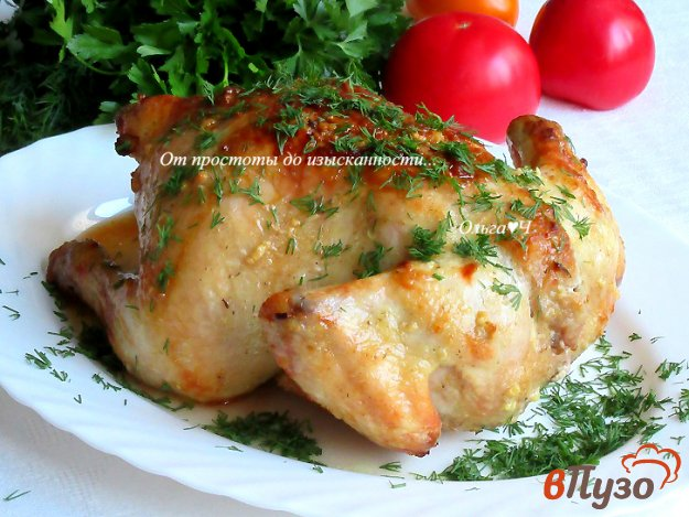 фото рецепта: Курица, запеченная с травами и чесноком