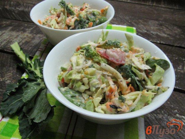 фото рецепта: Овощной салат из редьки брокколи капусты помидора