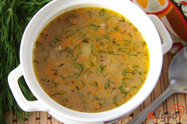 фото рецепта: Суп с гречкой на мясном бульоне в мультиварке