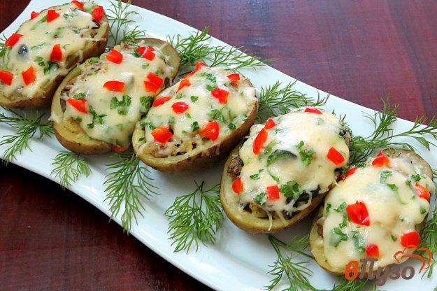 Картофель фаршированный печенью и грибами