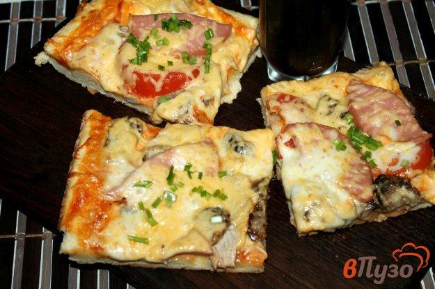 фото рецепта: Пицца на дрожжевом тесте с курицей, грибами, колбасой и сыром