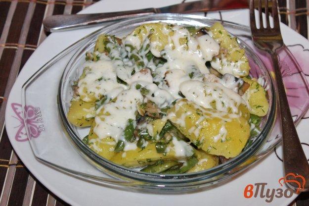 фото рецепта: Спаржевая фасоль с отварным картофелем и зеленью под сыром