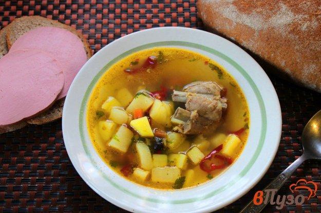 фото рецепта: Картофельный суп с ребрами и болгарским перцем