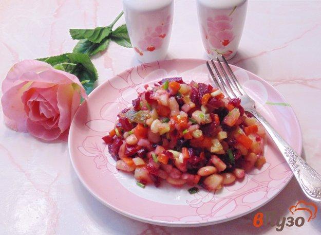 фото рецепта: Винегрет с фасолью и зеленым луком
