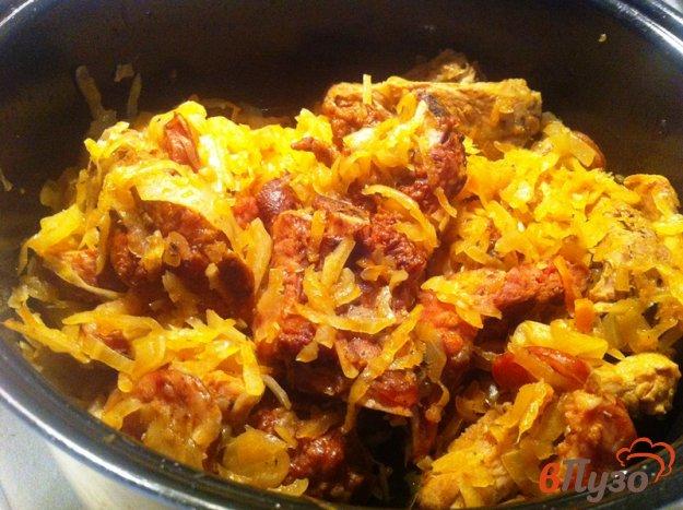 фото рецепта: Бигус со свининой и колбасой в мультиварке