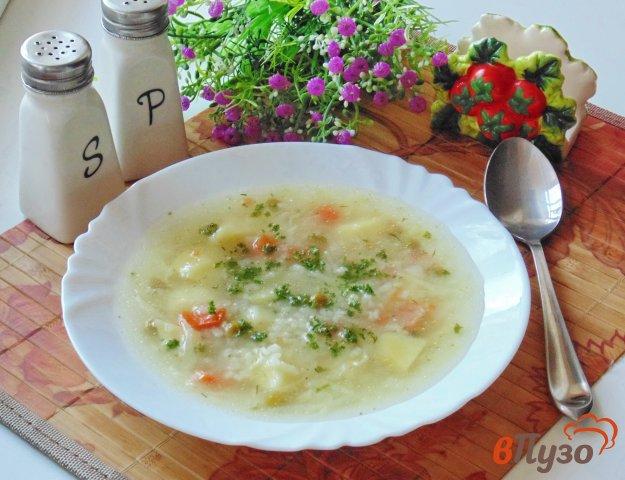 фото рецепта: Овощной суп с рисом и зеленым горошком