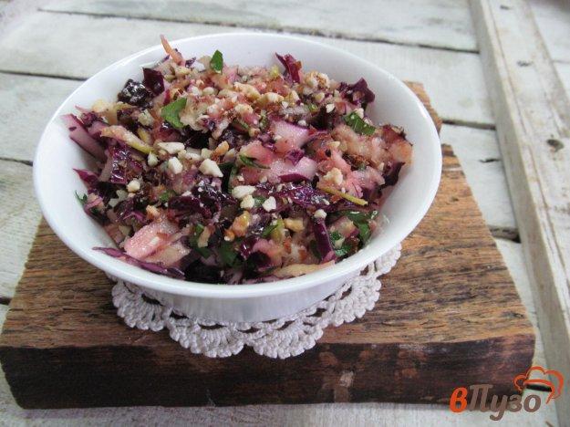 фото рецепта: Маринованная красная капуста с яблоком изюмом и орехами