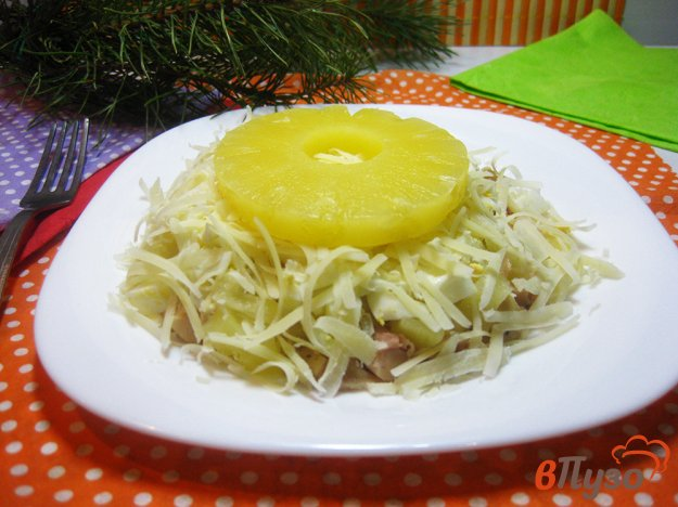 фото рецепта: Салат «Снежинка» с ананасами