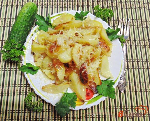 фото рецепта: Картофель в духовке с салом и луком