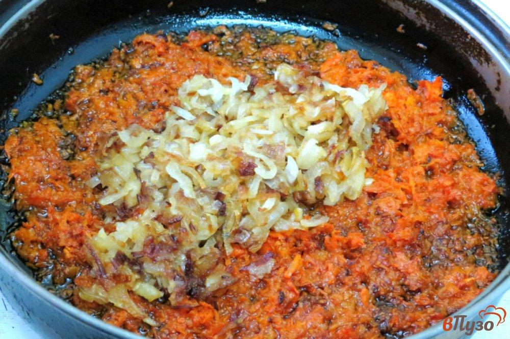 Фото приготовление рецепта: Печёночные блинчики с начинкой шаг №12