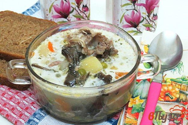 фото рецепта: Суп на свиных рёбрах с опятами, горошком и сметаной