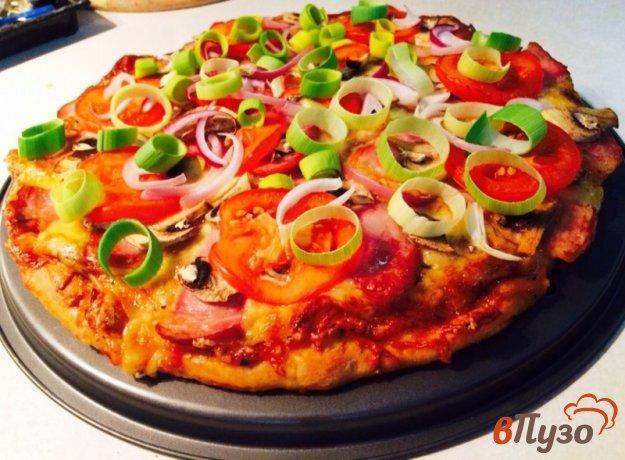 фото рецепта: Пицца с мясная с шампиньонами