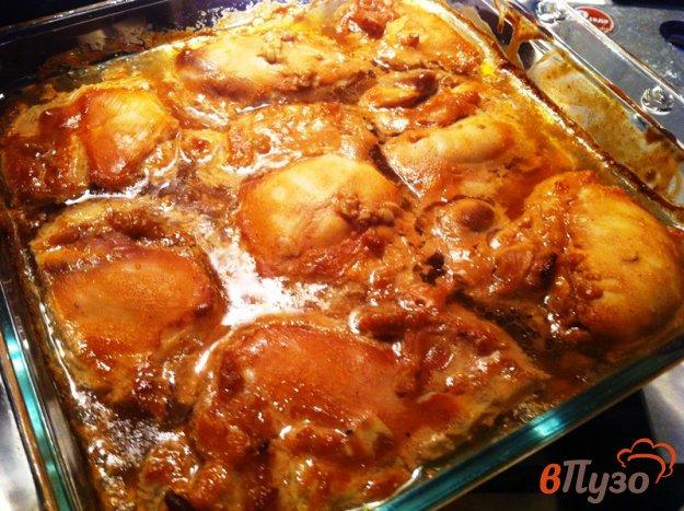 фото рецепта: Куриная мякоть с соусе барбекю, запеченная в духовке