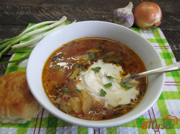 фото рецепта: Постный борщ с брокколи и фасолью
