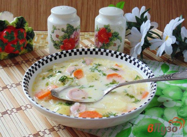 фото рецепта: Суп с плавленым сыром и сосисками