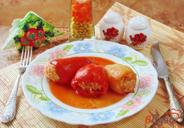 фото рецепта: Фаршированный перец с курицей, жареным луком и морковью