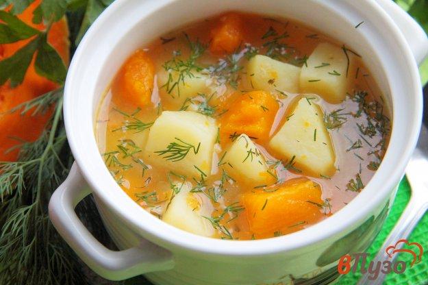 фото рецепта: Суп с овсяными хлопьями и тыквой в мультиварке