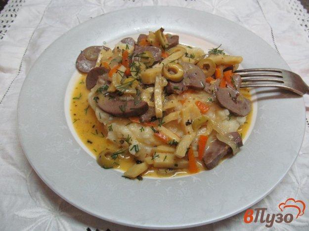 фото рецепта: Свиные почки с оливками в сметанном соусе